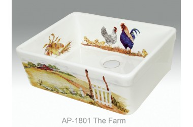 AP-1801-The Farm, Fireclay apron front sink hand painted