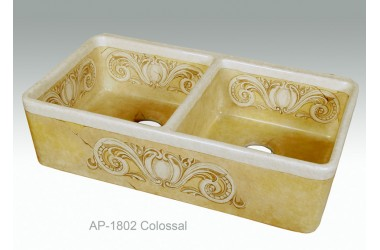 AP-1802-Colossal - Hand painted double bowl fireclay kitchen sink