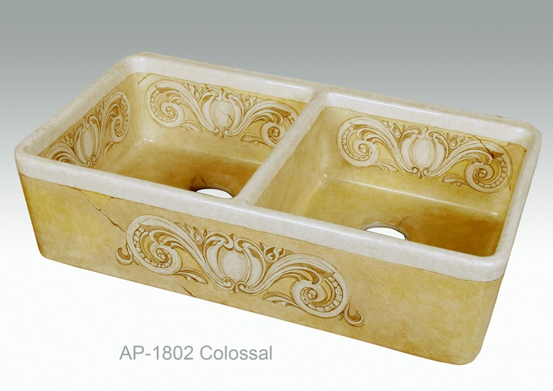 ap 1802 colossal painted bowl fireclay kitchen sink